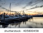 Boats Docked At The Yacht Club