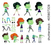 big set of a zombies and body... | Shutterstock .eps vector #405807328