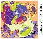 vector colorful abstract cute... | Shutterstock .eps vector #405808309
