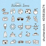 set of summer icon doodle | Shutterstock .eps vector #405818674