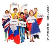 kids greeting each other in... | Shutterstock . vector #405820564