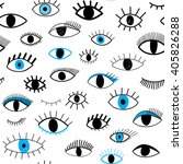 Hand Drawn Eye Doodles Seamles...