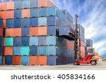 containers at the docks with...   Shutterstock . vector #405834166