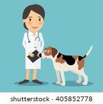 female veterinarian doctor with ... | Shutterstock . vector #405852778