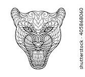 zen tangle head of jaguar  for...   Shutterstock .eps vector #405868060
