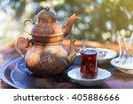 drinking traditional turkish... | Shutterstock . vector #405886666