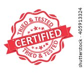 certified. tried and tested red ... | Shutterstock .eps vector #405913324