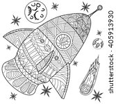 space coloring book line art... | Shutterstock .eps vector #405913930