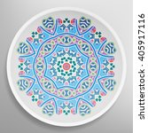 decorative plate with round... | Shutterstock .eps vector #405917116