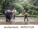 asian farmer and son working...   Shutterstock . vector #405917134