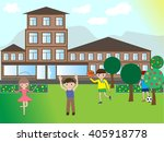 happy children playing in the... | Shutterstock .eps vector #405918778