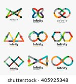 vector infinity logo set  flat...   Shutterstock .eps vector #405925348