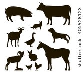 set of farm animals   pig  cow  ... | Shutterstock .eps vector #405928123