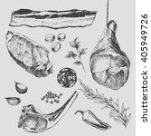 vector steak meat hand drawing... | Shutterstock .eps vector #405949726