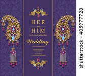 wedding invitation or card with ...   Shutterstock .eps vector #405977728