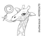 vector illustration of giraffe. | Shutterstock .eps vector #405981670