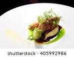 haute cuisine  roast beef with... | Shutterstock . vector #405992986