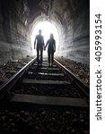 couple walking hand in hand... | Shutterstock . vector #405993154