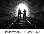 couple walking hand in hand... | Shutterstock . vector #405993160