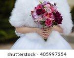 wedding bouquet of red flowers... | Shutterstock . vector #405997354
