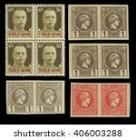 Small photo of Greek Stamps, two blocks of 4, two horizontal pairs, imperforate