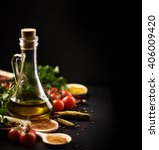 olive oil and various spices on ... | Shutterstock . vector #406009420