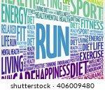 run word cloud  fitness  sport  ... | Shutterstock .eps vector #406009480