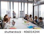 business man talking about... | Shutterstock . vector #406014244