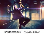 young woman hip hop dancer on... | Shutterstock . vector #406031560