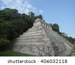 ancient mayan temple at... | Shutterstock . vector #406032118