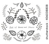 vector floral set. graphic... | Shutterstock .eps vector #406038808