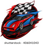 speeding racing car with... | Shutterstock .eps vector #406041043