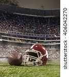 Small photo of The ball of american football players and helmet on stadium background