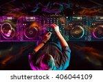 charismatic disc jockey at the...   Shutterstock . vector #406044109