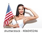 Woman Salute With Little Usa...