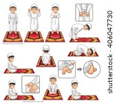 complete set of muslim prayer... | Shutterstock .eps vector #406047730
