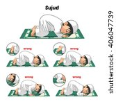 muslim prayer position guide... | Shutterstock .eps vector #406047739