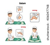 muslim prayer position guide... | Shutterstock .eps vector #406047748