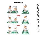 muslim prayer position guide...   Shutterstock .eps vector #406047760
