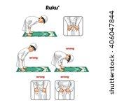 muslim prayer position guide... | Shutterstock .eps vector #406047844