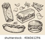 fast food. hand drawn... | Shutterstock .eps vector #406061296