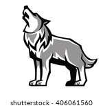 vector black wolf howl emblem... | Shutterstock .eps vector #406061560