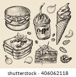 fast food. hand drawn hamburger ... | Shutterstock .eps vector #406062118