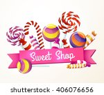 a large set of candies  sweets  ... | Shutterstock .eps vector #406076656