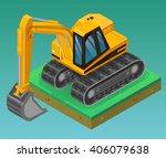 isometric excavator  vector... | Shutterstock .eps vector #406079638