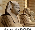 Egyptian sphinx tombstones in the Louvre Museum, Paris - stock photo