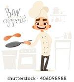 funny cook. bon appetit. menu.... | Shutterstock .eps vector #406098988