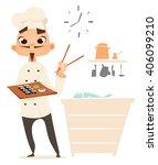 funny cook. bon appetit. menu.... | Shutterstock .eps vector #406099210