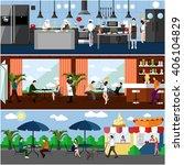 banner with restaurant... | Shutterstock . vector #406104829