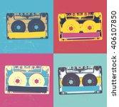 audiocassette retro popart... | Shutterstock .eps vector #406107850